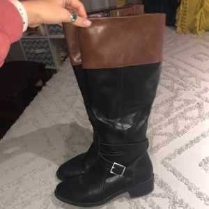 Brown & Black tall boots